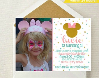 Minnie Mouse Photo Invitation // Minnie Mouse Invitation // Minnie Mouse Birthday // Mickey Mouse Invite // Minnie Mouse Party // Photo