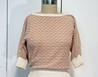 1970's Vintage Peach 3/4 sleeve Batwing Pointelle Crochet Sweater
