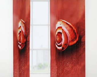 Red Shell Curtain, Window Curtains, Red Curtains, Nature Decor, Red Home  Decor