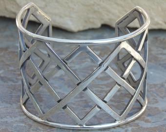 Reveriano Castillo ~ Reveri - Vintage Taxco Sterling Silver Wide Crosshatch Cuff Bracelet - 57 Grams