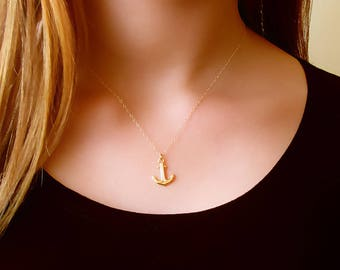 Gold Anchor Necklace , 14K Gold Filled Anchor Necklace ,  Layered Necklace , Minimal Anchor Necklace , Nautical Jewelry , Anchor Necklace