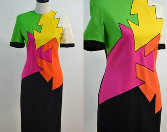 1980s Colorblock Wiggle Dress / 80s Neon Color Shift Dress / Jayna New York / Large L / X-Large XL / Pink Yellow Green Orange / Abstract