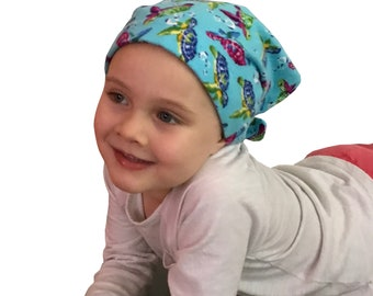 Jaye Children's Flannel Head Scarf, Girl's Cancer Hat, Chemo Head Cover, Alopecia Hat, Head Wrap, Cancer Gift, Hair Loss   Turquoise Turtles