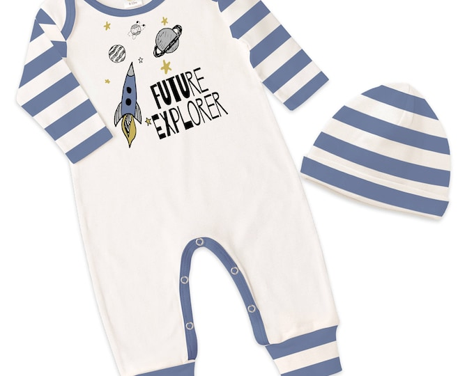 Baby Boy Take Home Romper, Baby Boy Blue Striped Romper, Baby Boy Bodysuit Hat, Future Explorer, TesaBabe RC810IYBI0000 boy 2a