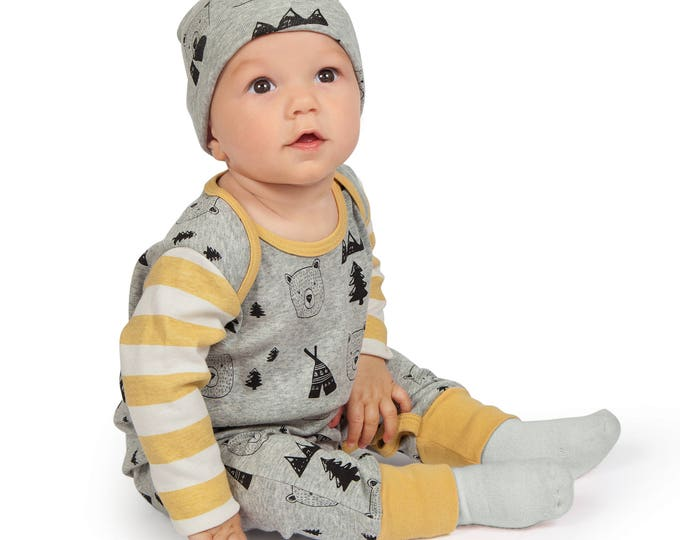 Baby Romper, Newborn Unisex Romper, Baby Boy Bear Romper, Infant Girl Romper, Bears Long Sleeve Romper, Gray Yellow TesaBabe RP810BYIM0000