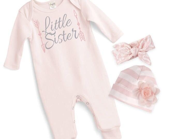 Baby Girl Pink Romper, Newborn Girl Take Home Romper, Little Sister Baby Bodysuit, Pink Long Sleeve Romper, TesaBabe RC810BH0238-girl sis