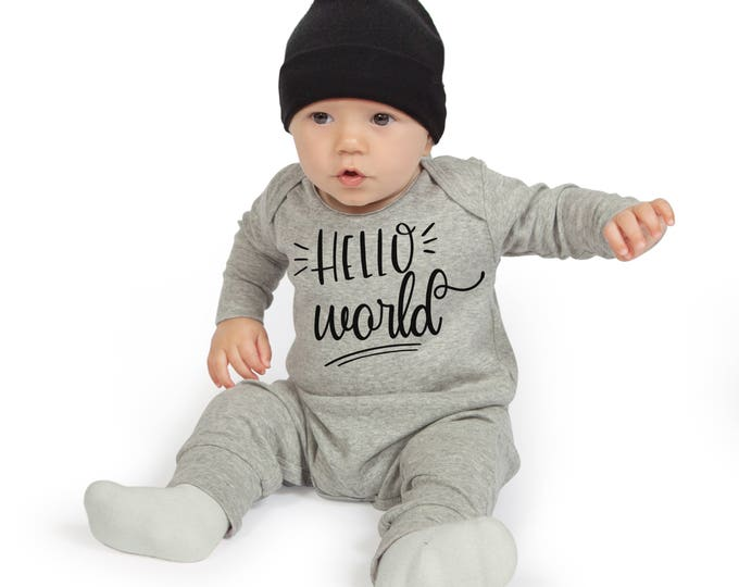 Newborn Neutral Take Home Romper, Unisex Baby Romper, Hello World Baby Boy Girl Bodysuit, Gray Romper Cap, Hello World, TesaBabe