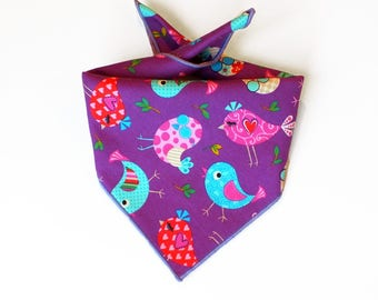 Tie On Birds Dog Bandana, Dog Scarf, tie bandana, pet bandana, doggy scarf , scarf for dogs