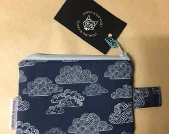Navy Blue Clouds Coin Purse