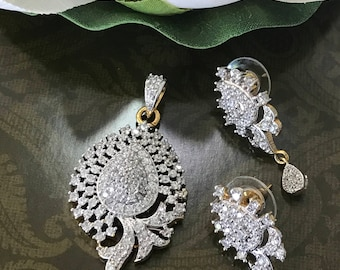 High quality gold plated AD Pendant & Earring Set