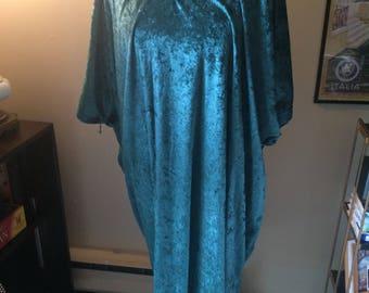 Plus Size Emerald Green Crushed Velvet Vintage Dress // Size 4X Vintage Shift Dress