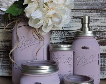 Mason Jar Bathroom Set, 5 Piece Mason Jar Bath Set, Lavender Purple  Bathroom Set