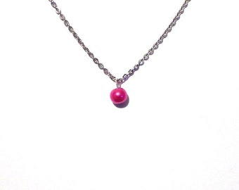 single pearl necklace, pink pearl necklace, bead necklace, bridesmaid necklace, floating pearl necklace, necklace, chain necklace