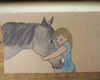Girl with horse - Handmade card