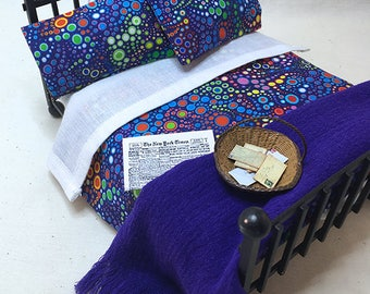 Miniature Dollhouse Duvet Bedding Set -Beautiful Deep Purple with Colorful Circles - Queen/Double