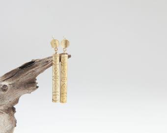 NEW ! Extra long golden earrings in brass (silver ear wire) •  southwest patterns