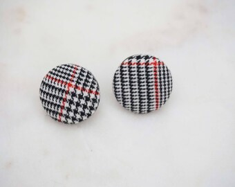 Black, Red, and White Plaid Circle Post Stud Earrings