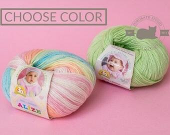 Self striped yarn, Alize Baby Wool Yarn, Hypoallergenic yarn, Baby yarn, antibacterial yarn, Wool, bamboo, acrylic yarn, variegated yarn