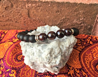 8mm Black Matte Obsidian and Garnet Gemstone Stretch Bracelet Healing Crystals Boho Chakra Reiki