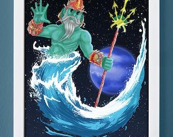 Neptune, art print, planet art, science art, children's art, roman gods, 4X6, 5X7, 8X10