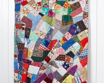 Handmade Patchwork Crazy Quilt, Colorful Vintage Fabrics, Hand quilted, Child/Throw Size