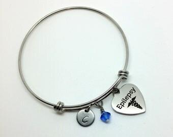 Epilepsy bracelet - medical alert jewelry - medical I.D bracelet - medical alert - epilepsy - EKG - gift for her - medical alert bracelet
