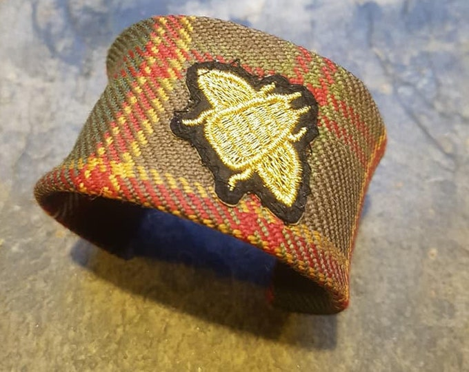 Flodden Commemorative Tartan Cuff Bangle with Embroidered Bee Embellishment