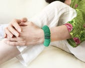 Emerald jewel, emerald green circle bracelet, paper jewelry, green, modern bracelet, gift for her, fashion accessories