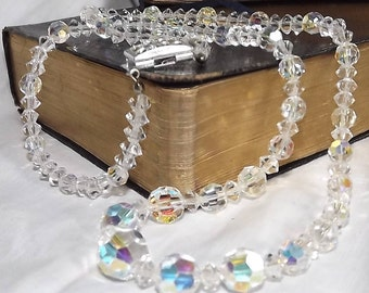 Vintage Facetted Clear Crystal AB single strand necklace