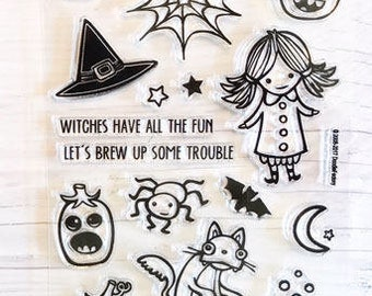 Halloween stamps, halloween stamp set, witch stamps, pumpkin stamps, bats, spider, cauldron stamps, moon, cat stamps, halloween planner
