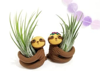 Sloth Air Plant Holders, Planter, Anniversary Gift, Best of Spring, Best Friend Gift, Mom Gift, Home Decor, Sloth Planter, Housewarming Gift