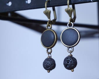 Lava Dangle Earrings Black lava earrings Unique earrings for women gift ideas Lava stone earring Diffuser jewelry Lava bead earrings for her