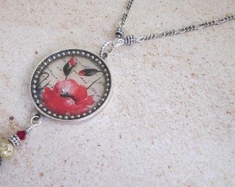 Red Poppy Pendant Necklace, Red Poppy Pendant, Poppy Flower Necklace, Flower Jewelry, Botanical Pendant, Red Floral Necklace, Poppy Flowers