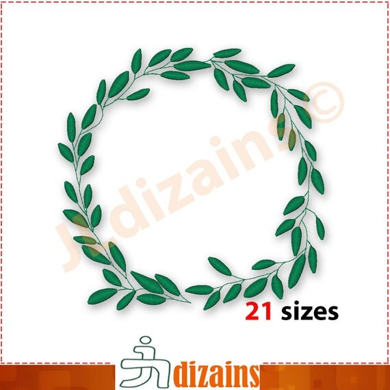 Leaf wreath embroidery design laurel