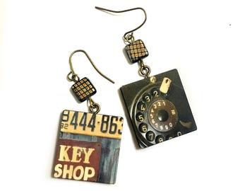 Vintage Rotary Telephone, Vintage Sign,  Vintage poster, Retro, Wooden Geometric, Square, Beaded earrings,Funky Art, Vintage Flair, Freaky