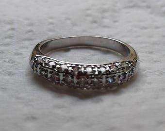 Half eternity cz sterling silver ring