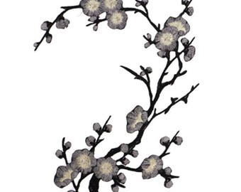 Cherry Grey Blossom Floral Applique Fabric Patches - More Colours