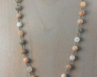 Long Beaded Necklace, Amazonite Necklace, Beaded Necklace, Multi-colored Necklace, Mutiple lengths available