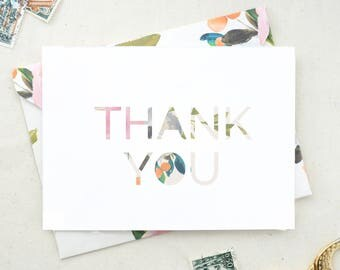 Floral Thank You Cards. Thank You Notes. Baby Shower. Wedding Shower. Floral. Watercolor Stationary. Cards set of 10. Cards set of 20. TY07