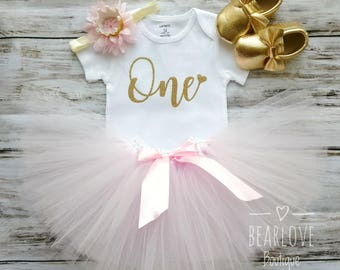 Pink and Gold Birthday Outfit | Pink and Gold First Birthday Outfit | Pink and Gold Birthday Shirt | Cake Smash Outfit | Photo Prop