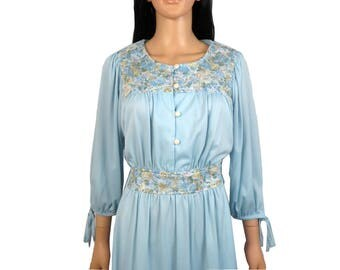 Vintage 70s Light Blue Prairie Boho Hippie Dress Size M