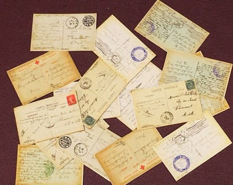 WW1, Dollhouse, Postcards, Miniature postcards, In 1/12 scale, 16, Originals from Soldiers Stationed In Paris Dated 1918/1919, Ephemera,