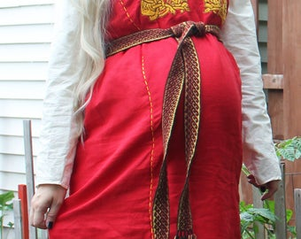 Viking apron dress with embroideries, 100% linen, hand made