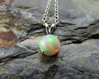 Ethiopian Opal Pendant Opal Necklace Sterling Silver Welo Opal Pendant 8mm round cabochon
