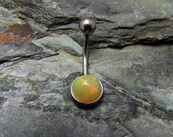 Opal Belly Ring Surgical Steel Belly Bar Ethiopian Opal Belly Bar October Birthstone 8mm
