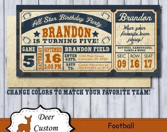 Football Birthday Ticket | Football Invitation | Football Birthday Invitation | Vintage Football Ticket Invite | All Star Birthday Football