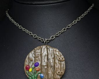 Rainbow Multi-Coloured Tulips Faery Door Pendant w/ Stainless Steel Chain