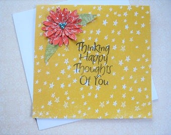 Thinking Happy Thoughts Of You Greeting Card, Friendship card, Just Because, Thinking of you, Best Friend, Springtime, Floral card, for her