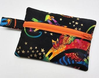 Coin purse, zipper pouch, zipper purse, change wallet, cat coin purse, kitty zipper pouch, kids coin purse, crazy cat lady bag, kawaii purse