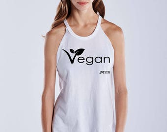 FTLA Apparel Warrior Goddess White Raw Edge Vegan Leaf Tank Top, Vegan Tank Top, Vegan Shirt, Muscle Tank, Workout Shirt, Fitness